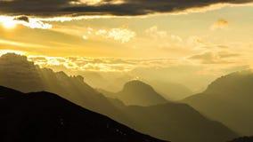 Autumn sunset in Dolomites mountains, Alps, Italy