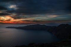 Autumn Sunset en Santorini Imagenes de archivo