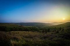 Autumn Sunset. On the fields of Romania Royalty Free Stock Images