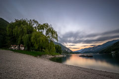 Autumn Sunset, lac Ledro Photo libre de droits
