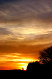 Autumn sunset landscape. Sunset of autumn landscape in yellow hot colors royalty free stock photos