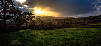 Autumn Sunset. Sunset during mid October over Mynydd-Maendy. Location: Pant-y-Brad, Rhondda, Wales Stock Photos