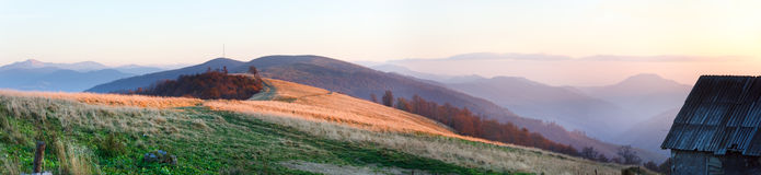 Autumn sunset mountain panorama Stock Images