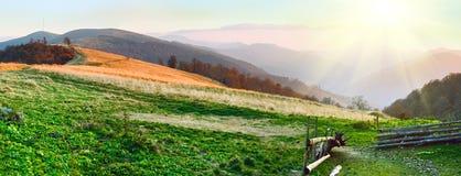 Autumn sunset mountain panorama (Carpathian Mt's, Ukraine) Royalty Free Stock Photography