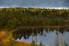 Autumn sunset on Onega stock photography