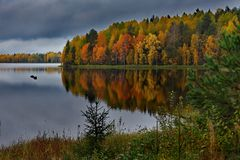 Autumn sunset on Onega royalty free stock photo