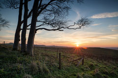 Autumn sunset over countryside landscape Royalty Free Stock Photos