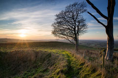 Autumn sunset over countryside landscape Royalty Free Stock Images