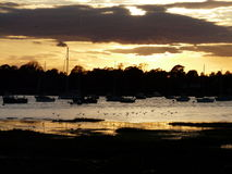 Autumn sunset over Itchenor, Chichester harbour. Royalty Free Stock Photo