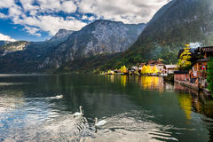 Autumn sunset over a lake in Hallstatt Royalty Free Stock Images