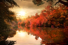 Autumn sunset over river Royalty Free Stock Photography