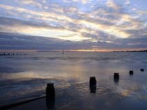 Autumn sunset from West Wittering Beach, West Sussex, UK royalty free stock image