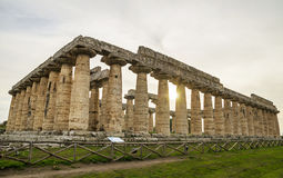 Autumn sunset at Paestum temples ,Italy Royalty Free Stock Photography