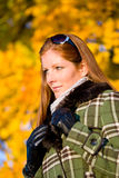 Autumn sunset park - red hair woman fashion Stock Photography