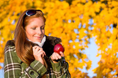 Autumn sunset park - red hair woman fashion Royalty Free Stock Photos