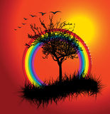 Autumn sunset with rainbow royalty free illustration