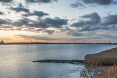 Autumn summerset at Schelde river Royalty Free Stock Photos