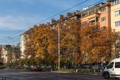Autumn Sunset Tsarigradsko Shosse boulevard, Sofia, Bulgaria. SOFIA, BULGARIA - NOVEMBER 7, 2017: Autumn Sunset Tsarigradsko Shosse boulevard, Sofia, Bulgaria Stock Photos