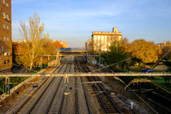 Autumn sunset, view of train tracks near Alcala de Henares stati. Sunset view of train tracks near Alcala de Henares station, Madird, Spain Royalty Free Stock Photography
