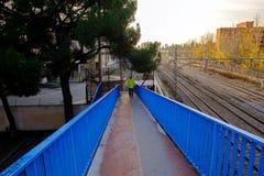 Autumn sunset, view of train tracks near Alcala de Henares stati Stock Photography