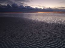 Autumn sunset from West Wittering Beach, West Sussex, UK stock image