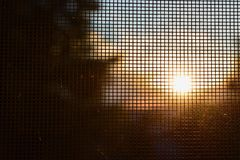 Autumn sunset. In window Royalty Free Stock Images