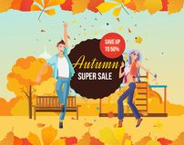 Autumn super sale background with colorful seasonal leaves. Special offers and discount systems. Autumn kids playground. Young people listens to music and royalty free illustration