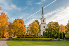 Autumn in Sweden. Ostra Stenby church during autumn in the countryside of Vikbolandet in Ostergotland, Sweden Royalty Free Stock Photography