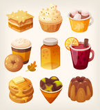 Autumn sweets and desserts. Collection of delicious autumn sweets and desserts. Sweet october food with apples pumpkins and honey flavours. Sweet coffee shop royalty free illustration