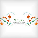 Autumn swirl lines and leaves on white Royalty Free Stock Images