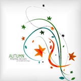 Autumn swirl lines and leaves on white Stock Photos