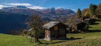 Autumn in swiss alps,panorama. Niwarch,ausserberg in valais in swiss stock image