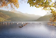 Autumn swiss lake relaxation Royalty Free Stock Image