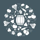 Autumn symbols in circle. Barrel, corkscrew, wine glass, pear, p. Lum, grapes and other fall symbol for announcement, advertisement, flyer or banner. Vector stock illustration