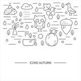 Autumn symbols in circle. Stock Image