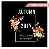 Autumn T-shirt Floral Design with Lily Flowers and Orchids. Romance Nature Background Stock Photo