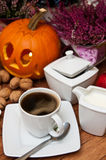 Autumn Table with Coffee and Pumpkin Stock Image