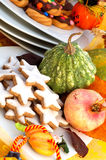 Autumn table setting. Detail of table setting ready for halloween party royalty free stock photography