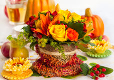 Autumn Table Setting Fotografie Stock