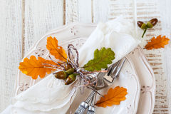 Autumn Table Setting Fotografering för Bildbyråer