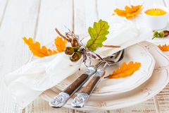 Autumn Table Setting Royaltyfri Foto