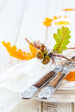 Autumn Table Setting Arkivbilder