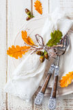 Autumn Table Setting Royaltyfri Bild