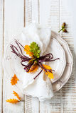 Autumn Table Setting Royalty-vrije Stock Foto's