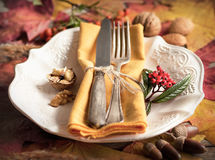 Autumn Table Setting Stockfoto