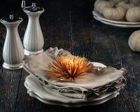 Autumn Table Setting Arkivbilder