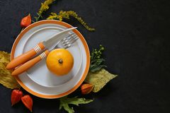 Autumn table setting. With pumpkin and flowers royalty free stock image