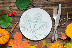 Autumn table setting stock image