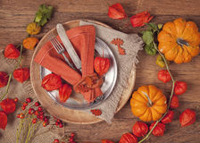 Autumn table setting Stock Image