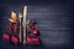 Autumn table setting Royalty Free Stock Images